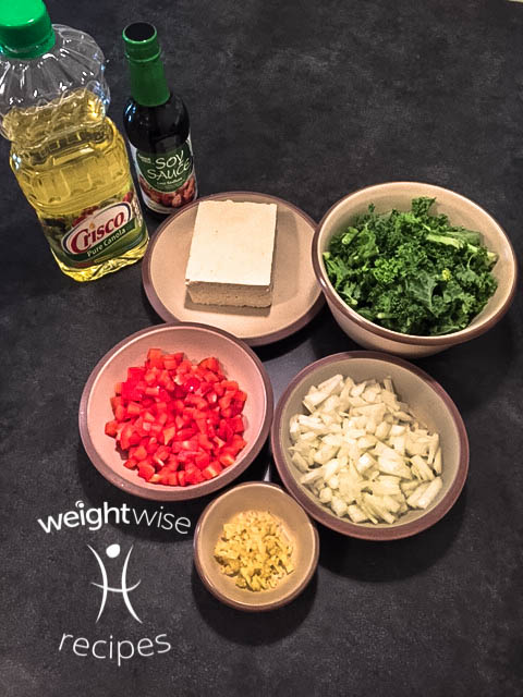 tofu scramble- diced ingredients
