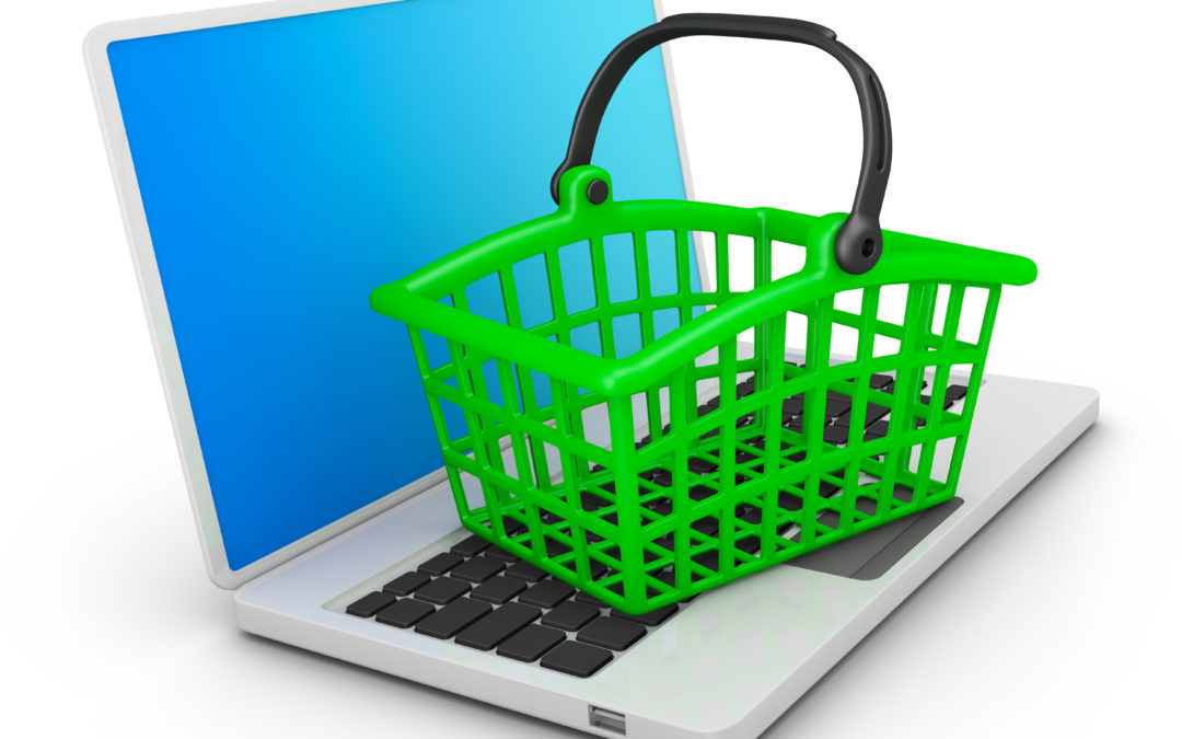 Green Basket on laptop to illustrate New Webstore Relaunch