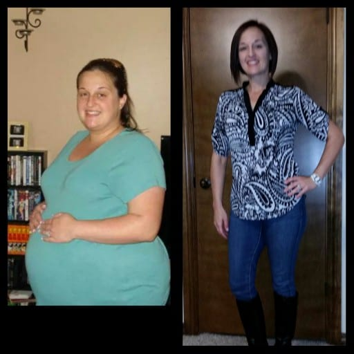 (left) Karlee pregnant with daughter; (right) after working hard for over year and losing 100+ pounds