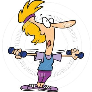 cartoon woman working out