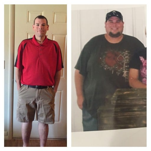 (left): Jeremy after he has lost 316 pounds. (right): Jeremy before he started his journey about 18 months ago.