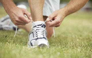 tying sneaker laces for exercise